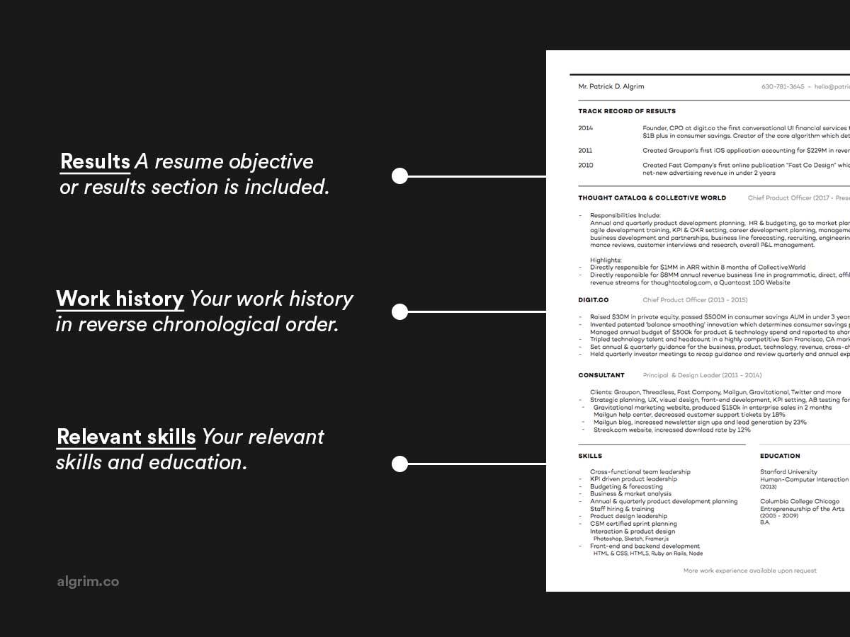 chronological or hybrid resume skills example