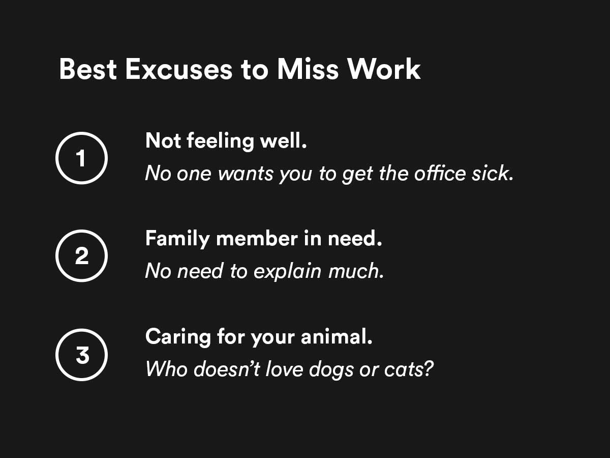 best excuses to miss work for 2020