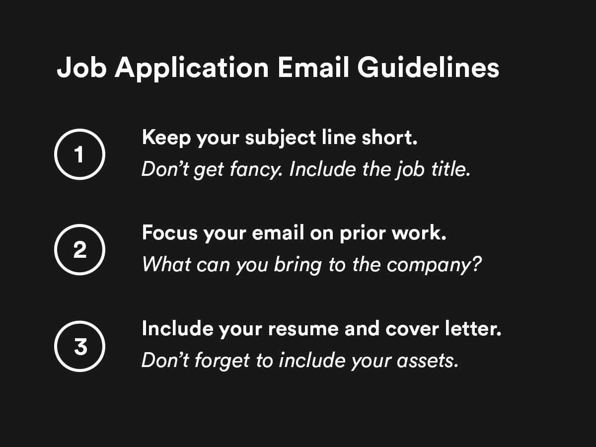 job application email guidelines