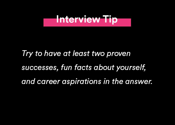 a job interview tip on how to answer tell me about yourself in an interview