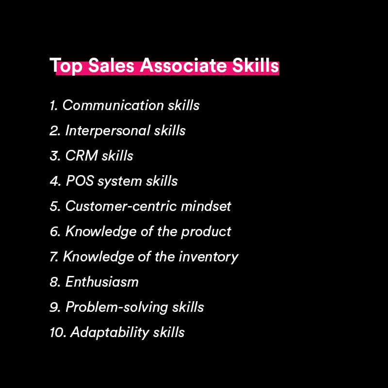 sales associate skills