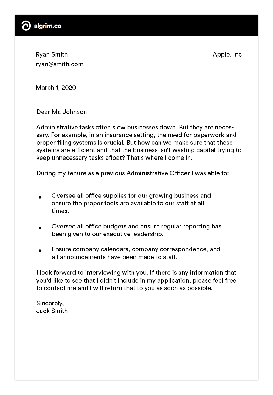 retail cover letter example