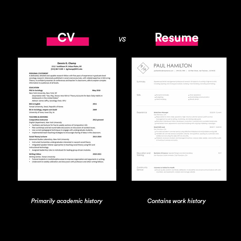 difference between a resume and a cv